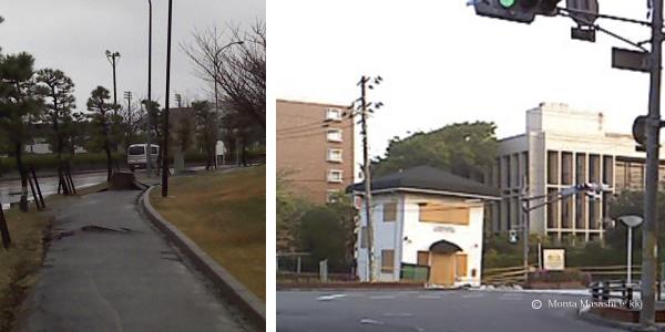 (左)飛び出したマンホール (右)傾いた交番