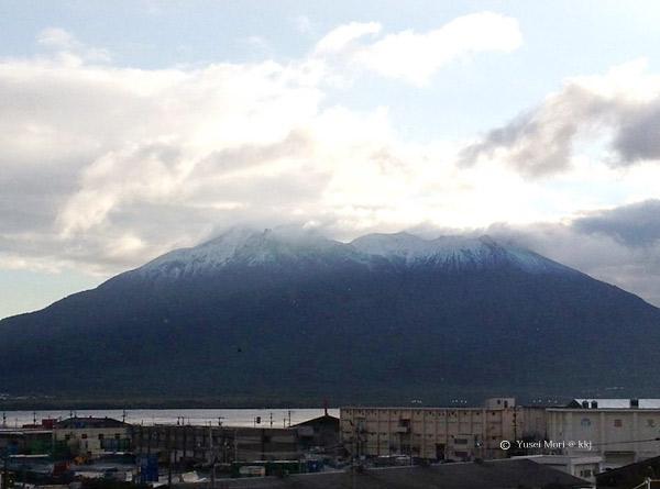 社屋から見る鹿児島富士の桜島