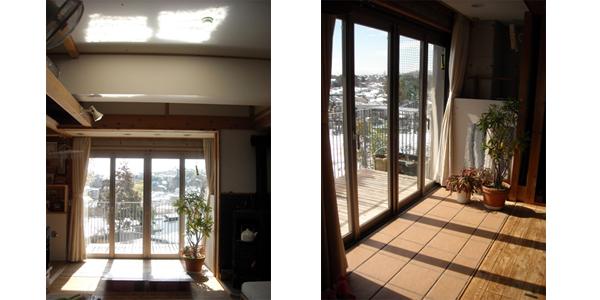 (左)茶色の床タイル部分が蓄熱床 (右)反射板で太陽熱を天井RCに蓄熱