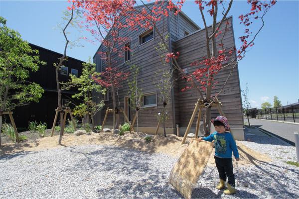 冬号で紹介した小舟木エコ村に立地する小舟木ミネルギーハウス。植栽が植わり、住まいらしくなってきました。