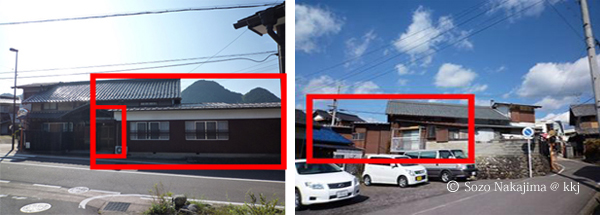 (左)建物外観:北面(右)建物外観:南面