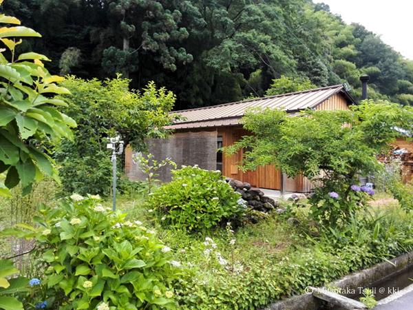 写真1:自宅を南東より見る。周辺の豊かな緑とすだれで夏の暮らしを実現する。