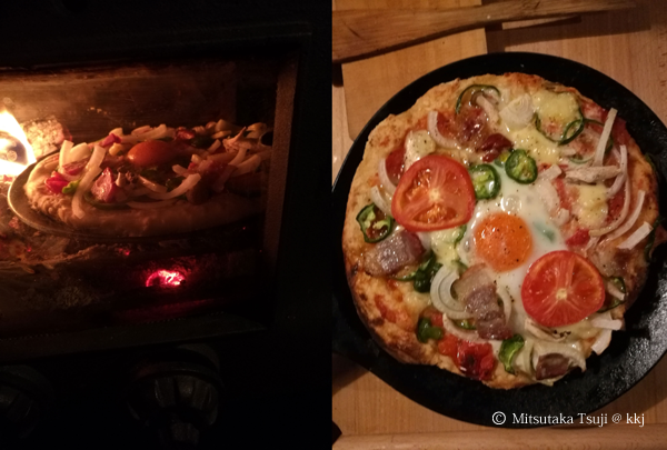 薪ストーブで焼いたピザ。